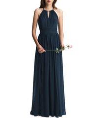 women's #levkoff keyhole neck chiffon a-line gown, size 10 - blue