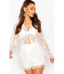 occasion lace collarless blazer, ivory