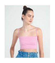 blusa cropped em ponto roma com decote reto e alças finas | blue steel | rosa | g