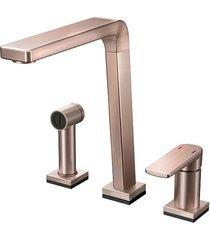 misturador monocomando para cozinha mesa bistrô tech com ducha manual cobre escovado - 00699469 - docol - docol