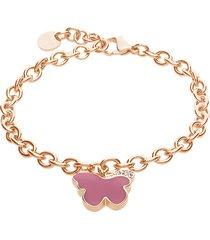 bracciale a maglie larghe in acciaio rosato con farfalla rosa con strass per donna