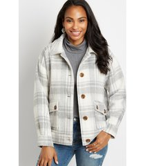 maurices womens gray plaid button down jacket