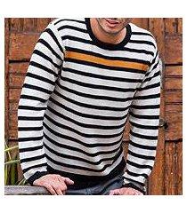 men's 100% alpaca sweater, 'golden spark' (peru)