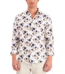 tasso elba men's asola flora printed linen shirt, created for macy's