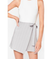 womens fall for your stripe wrap mini skirt - grey