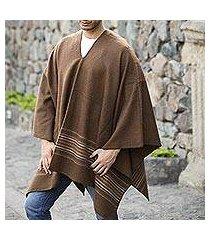 men's alpaca blend poncho, 'peaceful earth' (peru)