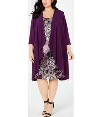r & m richards plus size high-low jacket & printed shift dress