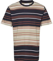 ranbo stripe tee t-shirts short-sleeved beige woodbird