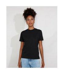 t-shirt feminina mindset manga curta decote redondo preta