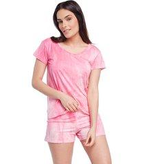 pijama feminino curto de manga curta tie dye rosa - branco/multicolorido/rosa - feminino - viscose - dafiti