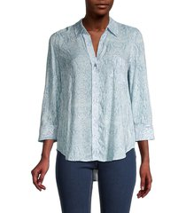 l'agence women's ryan snakeskin-print shirt - cool blue - size l