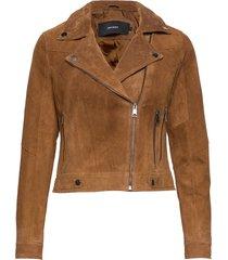 vmroycesalon short suede jacket noos leren jack leren jas bruin vero moda