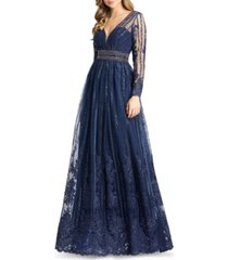 mac duggal embroidered a-line gown
