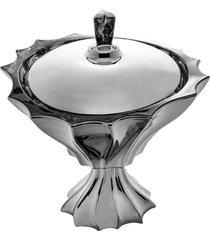 potiche decorativo cristal com pé e tampa paradise prateado metálico 22x24cm