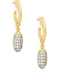 24k diamond half hoop dangle drop earrings
