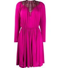 alberta ferretti strappy neckline midi dress - pink