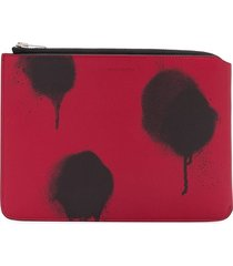 acne studios sprayed-effect zipped pouch - red