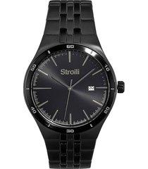 orologio solo tempo con cassa e cinturino in acciaio nero per uomo