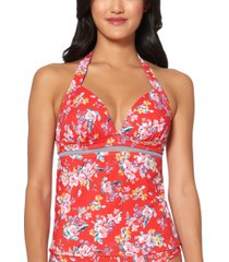 jessica simpson chantilly lace printed halter tankini top women's swimsuit