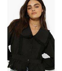 blouse met ruches en kanten zoom, black