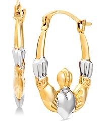 two-tone claddagh hoop earrings in 14k gold & white rhodium-plate