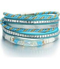 braccialetti a più strati della boemia branelli di cristallo braccialetto a catena intrecciato della corda gioielli etnici per le donne
