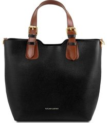 tuscany leather tl141696 tl bag - borsa a mano in pelle saffiano nero