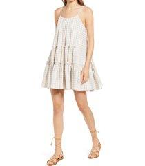 women's dra nathalia stripe seersucker trapeze dress, size small - beige
