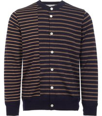 still by hand navy striped crew neck cardigan kn0573
