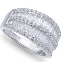 cubic zirconia pave baguette ring (2-1/8 ct.t.w) in sterling silver