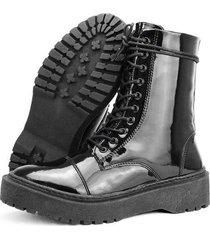 bota coturno tratorada sapatofran verniz feminina
