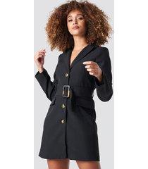 statement by na-kd influencers wide belted blazer dress - black