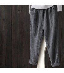 zanzea mujeres sólido pantalones básicos suelta más la altura de la cintura de algodón pantalones grises -gris