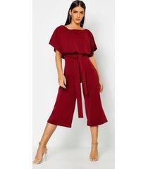 slash neck tie waist culotte jumpsuit, berry