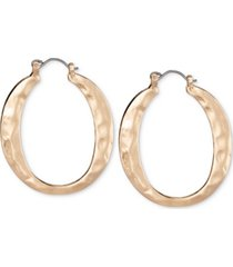 style & co gold-tone hammered flat hoop earrings, created for macy's