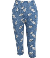 high waisted leaf print skinny capri pants