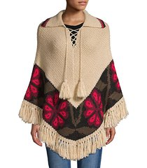 printed knit poncho