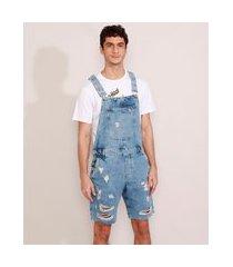 macacão curto jeans masculino destroyed marmorizado azul claro