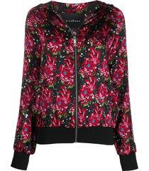john richmond floral-print zip-up hoodie - black