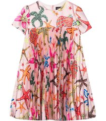 young versace pleated dress with embroidery