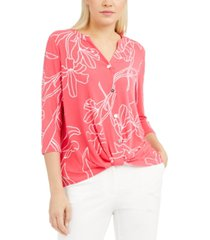 alfani printed twist-front top, created for macy's
