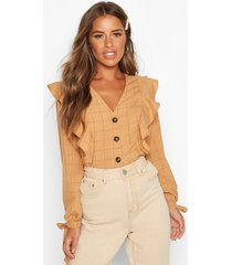 petite button up frill flannel blouse, terracotta