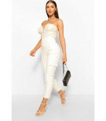 nepleren cargo broek met zijzakken, wit