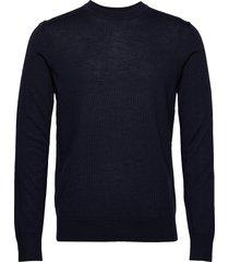 flemming crew neck 3111 stickad tröja m. rund krage blå samsøe samsøe