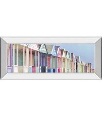 """classy art summer beach huts by assaf frank mirror framed print wall art - 18"""" x 42"""""""