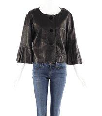 lanvin black leather silk velvet bell sleeve jacket black sz: m