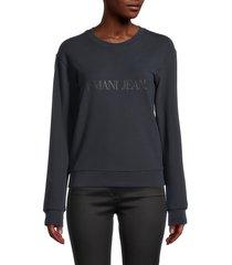armani jeans women's logo dropped-shoulder sweatshirt - grey - size 44 (10)