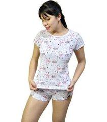 pijama conjunto camiseta gato e short gato feminino - feminino