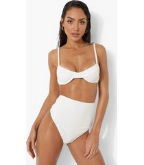 bikini broekje met hoge taille en textuur, white