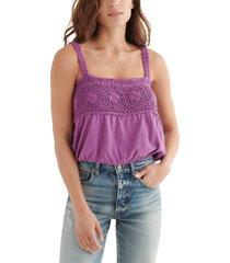women's lucky brand crochet detail cotton & linen bubble tank top, size x-large - purple